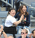 (L-R) Naomi Watanabe, Mai Tanaka,<br /> JUNE 5, 2014 - MLB :<br /> Naomi Watanabe and Mai Tanaka, wife of Masahiro Tanaka of the New York Yankees, celebrate during the Major League Baseball game between the Oakland Athletics and the New York Yankees at Yankee Stadium in Bronx, New York, United States. (Photo by AFLO)