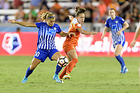 Houston, TX - Wednesday June 28, 2017: Rosie White and Andressinha battle for control of the ball during a regular season National Women's Soccer League (NWSL) match between the Houston Dash and the Boston Breakers at BBVA Compass Stadium.