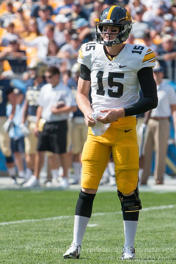 Iowa quarterback Jake Rudock. Iowa Hawkeyes defeated the Pitt Panthers 24-20 at Heinz Field, Pittsburgh Pennsylvania on September 20, 2014.