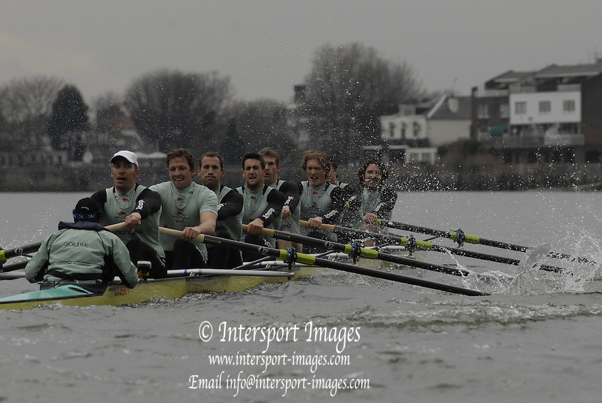 Putney. GREAT BRITAIN,  during the pre boat race fixture, Cambridge University  vs Molesey Boat Club, Eight   raced over the Boat Race Course, on the River Thames, London, on Fri.  23.03.2007,  [Photo Peter Spurrier/Intersport Images] .Crew: CUBC bow, Kip McDANIEL, Dan O'SHAUGHNESSY, Peter CHAMPION,.Jacob (Jake) CORNELIUS, Tom JAMES (President), Kieran WEST, Sebastian  SCHULTE, Stroke, Thorsten  ENGLEMANN, cox. Russell GLENN. ..Molesey Boat Club. .Bow. Simon FIELDHOUSE, 2. Mike BLOMQUIST, 3. Mohamed SHIBI, 4. Pete MARSTAND,  5. Jonno DEVLIN, 6. Hugo LEE, 7. Tom LUCY and stroke Andy TWIGGS HODGE, cox, Acer NETHERCOTT , Rowing Course: River Thames, Championship course, Putney to Mortlake 4.25 Miles, , Varsity Boat Race