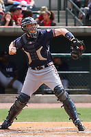 Catcher Matt Kramer of the Rome Braves throwing down to 2nd base during a game against the Charleston RiverDogs on April 27, 2010 in Charleston, SC.