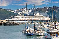 Holland America cruise liner Rynadaam in the Seward municipal boat Harbor, Seward, Alaska.