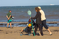 Runswick Bay - North Yorkshire - England - family walking