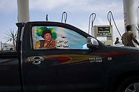 Gariat, Libya, March 30, 2011..A rare open petrol station on the road between Tripoli and the south..