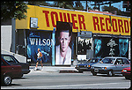 Tower Records on the Sunset Strip with sign for Brian Wilson, 1988