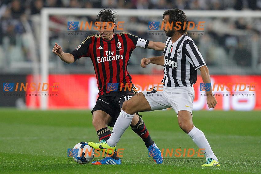 Andrea Pirlo Juventus, Riccardo Montolivo Milan,<br /> Torino 06-10-2013<br /> Juventus Stadium <br /> Football Calcio 2013/2014 Serie A <br /> Juventus - Milan<br /> Foto Marco Bertorello Insidefoto