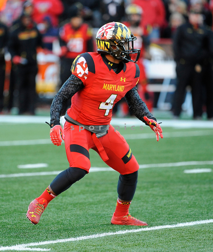 Maryland Terrapins William Likely (4) during a game against the Clemson Tigers on October 26, 2013 at Byrd Stadium in College Park, MD. Clemson beat Maryland 40-20.