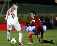 Spain's Thiago and Norway's Pedersen during an International sub21 match. March 21, 2013.(ALTERPHOTOS/Alconada) /NortePhoto