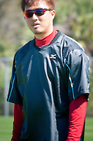 Pitcher Hideki Okajima. Boston Red Sox return for spring training, Fort Myers, Florida, USA, Feb. 13, 2011. Photo by Debi Pittman Wilkey