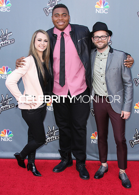 "UNIVERSAL CITY, CA, USA - APRIL 15: Bria Kelly, T.J. Wilkins, Josh Kaufman at NBC's ""The Voice"" Season 6 Top 12 Red Carpet Event held at Universal CityWalk on April 15, 2014 in Universal City, California, United States. (Photo by Xavier Collin/Celebrity Monitor)"