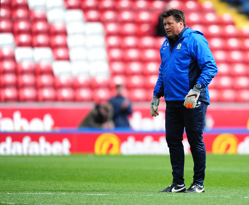 Blackburn Rovers' goalkeeping coach Laurence Batty during the pre-match warm-up <br /> <br /> Photographer Chris Vaughan/CameraSport<br /> <br /> Football - The Football League Sky Bet Championship - Blackburn Rovers v Bristol City - Saturday 23rd April 2016 - Ewood Park - Blackburn <br /> <br /> &copy; CameraSport - 43 Linden Ave. Countesthorpe. Leicester. England. LE8 5PG - Tel: +44 (0) 116 277 4147 - admin@camerasport.com - www.camerasport.com