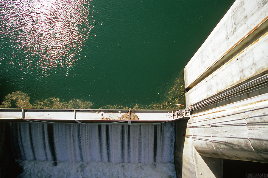 Waters flow from Austin's Town Lake--actually a portion of the Colorado River--over Longhorn Dam.