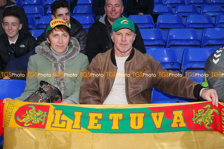 Lithuania fans pose for a photo ahead of kick-off - England Under-21 vs Lithuania Under-21 - 2015 UEFA Under-21 Championship Qualifying Group One Football at Ipswich Town FC, Portman Road, Ipswich, Suffolk - 15/10/13 - MANDATORY CREDIT: Gavin Ellis/TGSPHOTO - Self billing applies where appropriate - 0845 094 6026 - contact@tgsphoto.co.uk - NO UNPAID USE