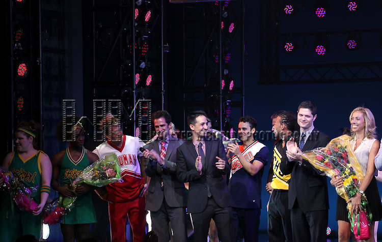 Ensemble Cast with Andy Blankenbueher, Lin-Manuel Miranda, Tom Kitt & Amanda Green during the Broadway Opening Night Performance Curtain Call for  'Bring it On The Musical' at the St. James Theatre in New York City on 8/1/2012