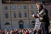 Torino, Piazza Castello, 14 Marzo, 2010. Beppe Grillo durante un suo comizio
