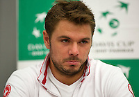 Swiss, Genève, September 14, 2015, Tennis,   Davis Cup, Swiss-Netherlands, press conference Swiss team , Stan Wawrinka<br /> Photo: Tennisimages/Henk Koster