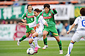 (L to R) Rie Azami (AS Elfen Sayama), Nanase Kiryu (Beleza), .APRIL 22, 2012 - Football/Soccer : 2012 Plenus Nadeshiko League, 2nd sec match between NTV Beleza 3-0 AS Elfen Sayama FC at Komazawa Olympic Park Stadium, Tokyo, Japan. (Photo by Jun Tsukida/AFLO SPORT) [0003] .