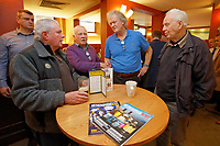Tim Martin (3rd L), the owner of JD Wetherspoon chain of pubs, speaks about Brexit at the David Protheroe public house in Neath, Wales, UK. Tuesday 15 January 2019