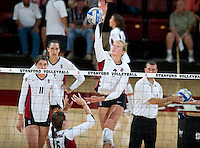 STANFORD, CA - September 2, 2010: Carly Wopat during a volleyball match against UC Irvine in Stanford, California. Stanford won 3-0.