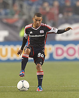 New England Revolution forward Fernando Cardenas (80) dribbles. In a Major League Soccer (MLS) match, the New England Revolution defeated Chicago Fire, 2-0, at Gillette Stadium on June 2, 2012.