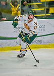 21 February 2015:  University of Vermont Catamount Defenseman Dan Senkbeil, a Junior from Fremont, CA, in second period action against the Merrimack College Warriors at Gutterson Fieldhouse in Burlington, Vermont. The teams played to a scoreless tie as the Cats wrapped up their Hockey East regular home season. Mandatory Credit: Ed Wolfstein Photo *** RAW (NEF) Image File Available ***