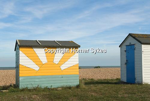 Beach Huts. Littleton on Sea, Kent. English Sunrise motif UK