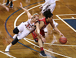 SIOUX FALLS, SD: MARCH 19:   Haris Price #21 of Carson Newman and Sara Lytle #32 of Union chase a loose ball during their game at the 2018 Division II Women's Elite 8 Basketball Championship at the Sanford Pentagon in Sioux Falls, S.D. (Photo by Dick Carlson/Inertia)