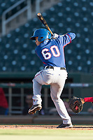 AZL Rangers shortstop Frainyer Chavez (60) at bat during an Arizona League playoff game against the AZL Indians 1 at Goodyear Ballpark on August 28, 2018 in Goodyear, Arizona. The AZL Rangers defeated the AZL Indians 1 7-4. (Zachary Lucy/Four Seam Images)