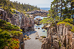 Ravens Nest, the rugged cliffs of Acadia on Schoodic Peninsula, Acadia National Park, Downeast ME