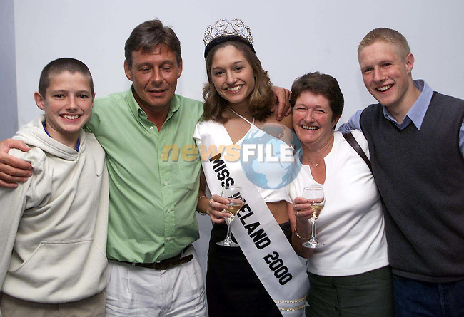 Miss Ireland 2000, Yvonne Elland from Tipperary who met up with her parents, at Dublin Airport for the first time since winning the competition. Her parents Phil and Tom returned home from holiday to discover the good news. Also pictured are Yvonne's brothers Thomas and Derek..Picture: Paul Mohan/Newsfile