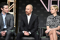PASADENA, CA - FEBRUARY 4: (L-R) EP/Director Thomas Kail, EP/Cast Member Sam Rockwell, and EP/Cast Member Michelle Williams during the FOSSE / VERDON panel for the 2019 FX Networks Television Critics Association Winter Press Tour at The Langham Huntington Hotel on February 4, 2019 in Pasadena, California. (Photo by Frank Micelotta/FX/PictureGroup)