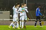 23.10.2018, Heinz-Dettmer-Stadion, Lohne, GER, FSP, SV Werder Bremen vs DSC Arminia Bielefeld<br /> <br /> DFL REGULATIONS PROHIBIT ANY USE OF PHOTOGRAPHS AS IMAGE SEQUENCES AND/OR QUASI-VIDEO.<br /> <br /> im Bild / picture shows<br /> Vorlagengeber David Philipp (Werder Bremen #31) bejubelt 2:1 Tor mit Johannes Eggestein (Werder Bremen #24), Milot Rashica (Werder Bremen #11), Ilia Gruev (Werder Bremen #28),  <br /> <br /> Foto &copy; nordphoto / Ewert