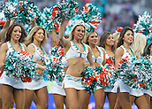 04.10.2015. Wembley Stadium, London, England. NFL International Series. Miami Dolphins versus New York Jets. Miami Dolphins Cheerleaders perform to the crowds during the first quarter.