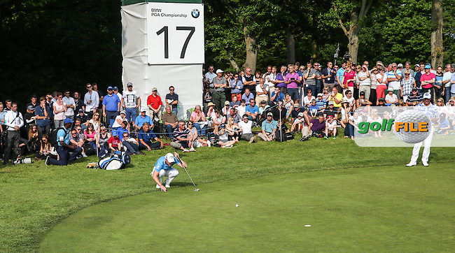 Danny Willett (ENG) missing par putt on the 17th during Round Three of the 2016 BMW PGA Championship over the West Course at Wentworth, Virginia Water, London. 28/05/2016. Picture: Golffile | David Lloyd. <br /> <br /> All photo usage must display a mandatory copyright credit to &copy; Golffile | David Lloyd.