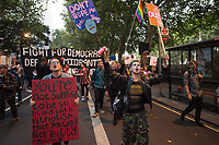 Thousands attand a rally and spontaneous march organised by the People's Assembly against a No Deal Brexit. They were calling for a General Election to get rid of Boris Johnson. Westminster, London, England. 3-9-19