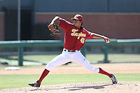 Bernardo Flores (45) of the Southern California Trojans pitches during a game against the Oregon Ducks at Dedeaux Field on April 18, 2015 in Los Angeles, California. Oregon defeated Southern California, 15-4. (Larry Goren/Four Seam Images)