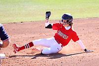 GREENSBORO, NC - FEBRUARY 22: Amanda Ulzheimer #7 of Fairfield University slides into second base during a game between Fairfield and North Carolina at UNCG Softball Stadium on February 22, 2020 in Greensboro, North Carolina.