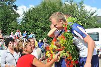 FIERLJEPPEN: WINSUM: 10-08-2013, Fries kampioenschap Fierljeppen, Hans Ulco de Boer, ©foto Martin de Jong