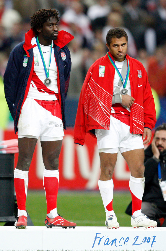Photo: Richard Lane/Richard Lane Photography..England v South Africa. The Final of the IRB Rugby World Cup, RWC 2007. 20/10/2007. .England's Paul Sackey and  Jason Robinson show their dejection.