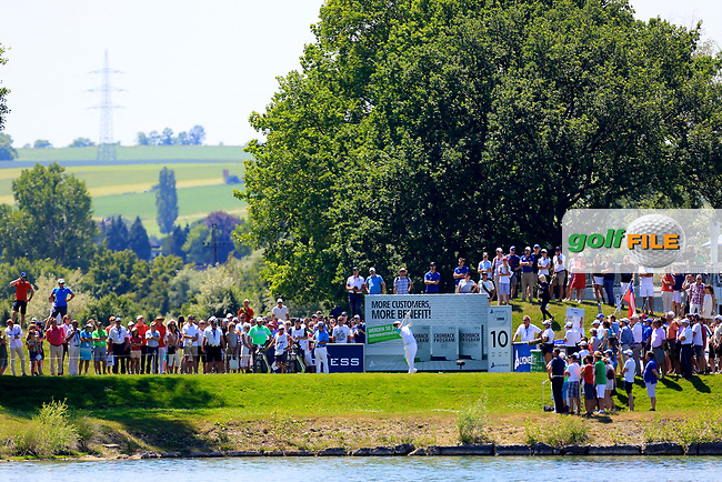 Dylan Frittelli (RSA) tees off the 10th during the final round of the Lyoness Open powered by Organic+ played at Diamond Country Club, Atzenbrugg, Austria. 8-11 June 2017.<br /> 11/06/2017.<br /> Picture: Golffile | Phil Inglis<br /> <br /> <br /> All photo usage must carry mandatory copyright credit (&copy; Golffile | Phil Inglis)
