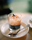AUSTRIA, Vienna, Kleines Cafe, glass of Einspanner, a german coffee with whipped cream