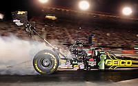 Jun. 15, 2012; Bristol, TN, USA: NHRA top fuel dragster driver Morgan Lucas during qualifying for the Thunder Valley Nationals at Bristol Dragway. Mandatory Credit: Mark J. Rebilas-