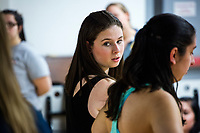 Kyssandra Perkowski, a grad student studying Elementary Education at Wheelock College, performs with other students during a Jazz Performance class at the Holmes Athletic Center at Simmons College, one of the Colleges of the Fenway, in Boston, Massachusetts, USA, on Mon., March 13, 2017. The students were preparing for their Spring Showcase performance in April.