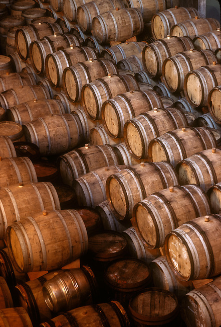 Barrels stacked in Napa Valley winery