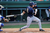 Right fielder Casey Roche (41) of the University of Pittsburgh Panthers bats in a game against the Presbyterian Blue Hose on Tuesday, March 11, 2014, at Fluor Field at the West End in Greenville, South Carolina. Pitt won, 12-3. (Tom Priddy/Four Seam Images)
