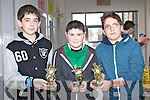 Causeway Quiz Team Shane Donovan, Aidan Leahy, and Jack Parker U-15 Winners at the Youth Clubs quiz at the KDYS in Killarney on Sunday.