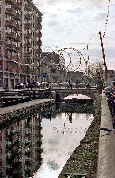 Milano, quartiere Navigli. Il Naviglio Pavese --- Milan, Navigli district. Naviglio Pavese channel