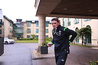 Friday 13 February 2015<br /> Pictured: Rhys Priestland<br /> Re: Wales rugby player Rhys Priestland departs for Scotland ahead of the Scotland v Wales game in Murrayfield, Edinburgh on Sunday.