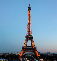 Eiffel Tower, March 31, 1889 (Universal Exhibition in celebration of the French Revolution), Alexandre Gustave Eiffel (1832-1923), 324 meters high, 10,100 tons, 18,038 pieces, 2,500,000 rivets, 1665 steps, seen on January 16, 2011 at twilight, Paris, France. Picture by Manuel Cohen