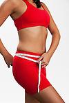 USA, Illinois, Metamora, Woman measuring waist